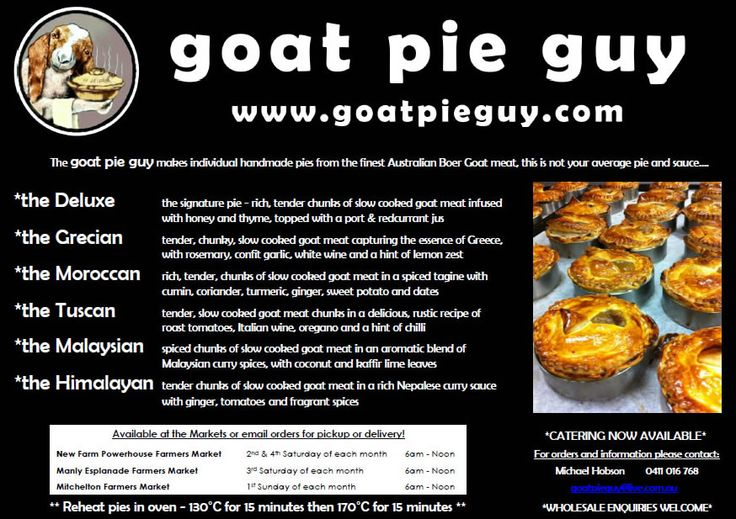 #goatvet likes the Goat Pie Guy, who sells his pies at Farmers Markets in Queensland, Australia