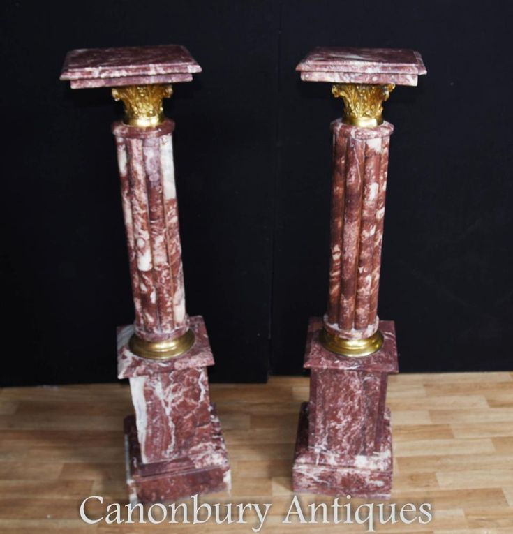 French Empire Marble Pedestal Stand Tables Fluted Columns