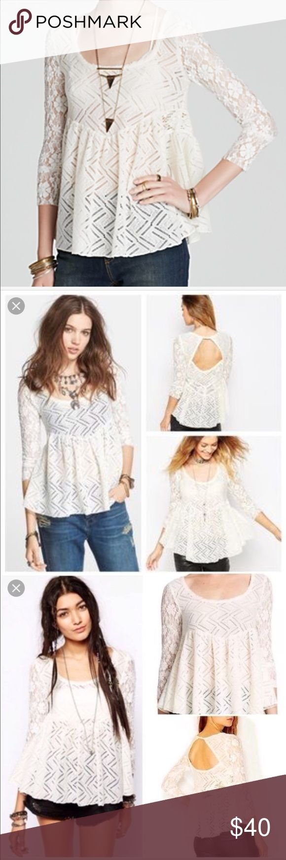 Free People Gracie Lace Peplum Top Super cute! Worn once or twice Free People Tops