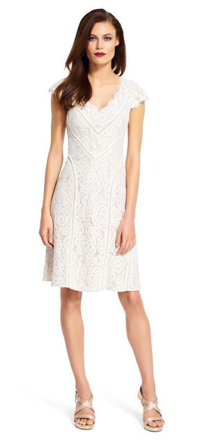 Floral and Lace Dress - Adrianna Papell | technically, you're not supposed to wear white, but this style is super cute :)