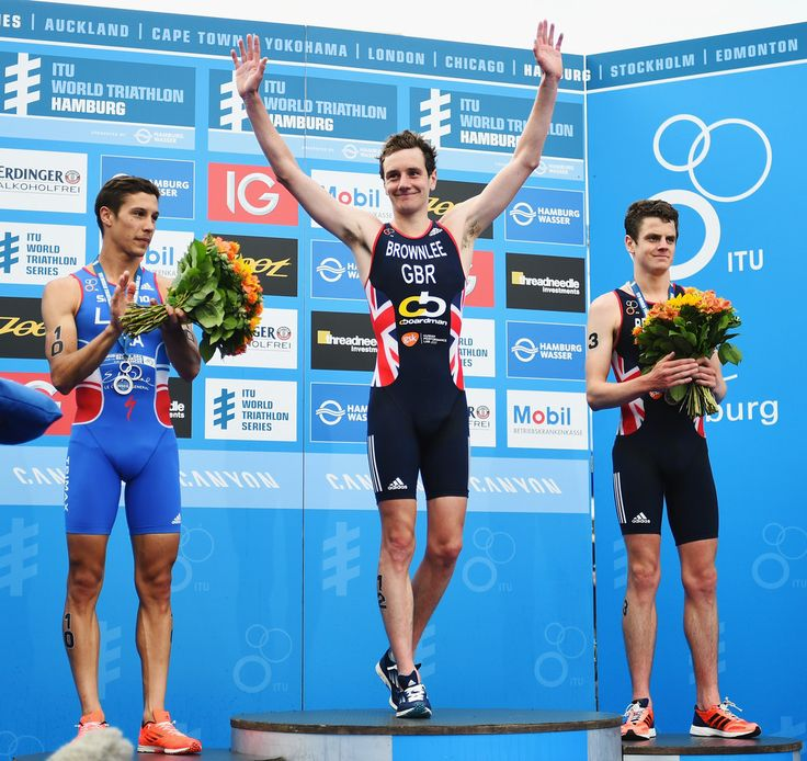 ITU World Triathlon Hamburg Vincent Luis of France and Alistair and Jonathan Brownlee of Great Britain