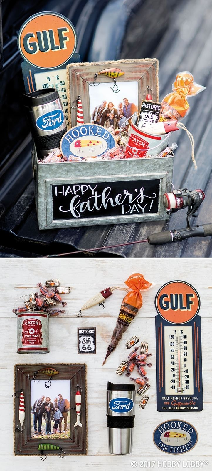 Celebrate your favorite guy with a gift basket chock-full of his favorite things!