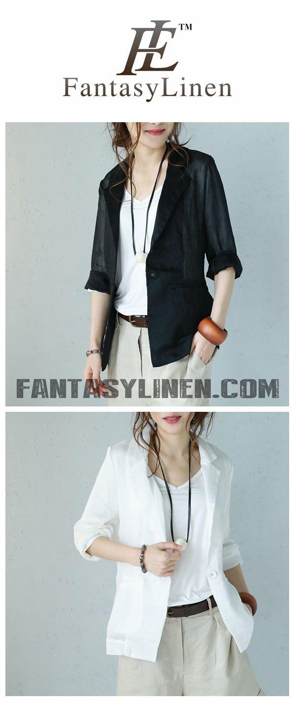 0b8304df4e7392 NEW STYLE ELEGANT 3/4 SLEEVE LINEN JACKET WOMEN TOPS Q1107   Fashion ...