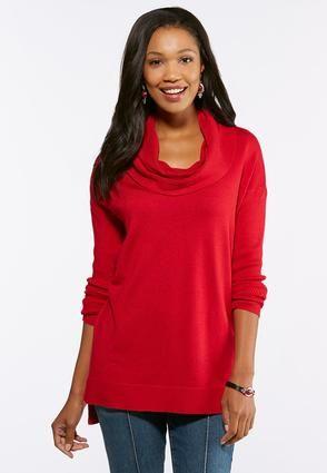 1cf3f102ce310 Cato Fashions Red Cowl Neck Tunic Sweater  CatoFashions