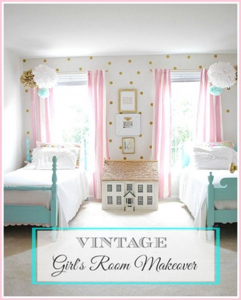 A vintage Girls room with painted twin beds  a pink and gold color scheme  and. Best 25  Twin beds ideas on Pinterest   Corner beds  Corner