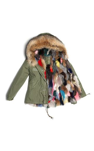 Army Mini Parka With Multicolored Fox by MR & MRS ITALY for Preorder on Moda Operandi