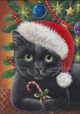 Black Kitty - Xmas Painting in Acrylics