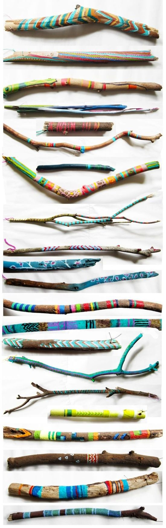Painted twigs & driftwood. They look cute arranged in a mason jar or bottle! DIY - make a day out of it, go for a walk through the ravine collecting sticks, bring them home and paint them. Brennan would LOVE this!  @Kate Mazur Mazur Mazur Mazur Webster can we do this?!