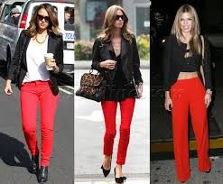 Resultado de imagen para red trousers for women