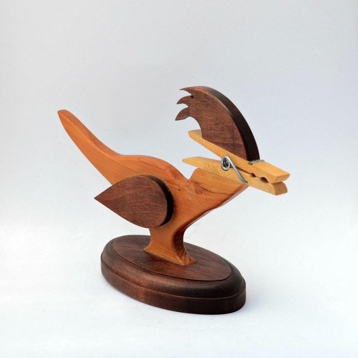 Wooden roadrunner note holder bird vintage. $11.95, via Etsy.