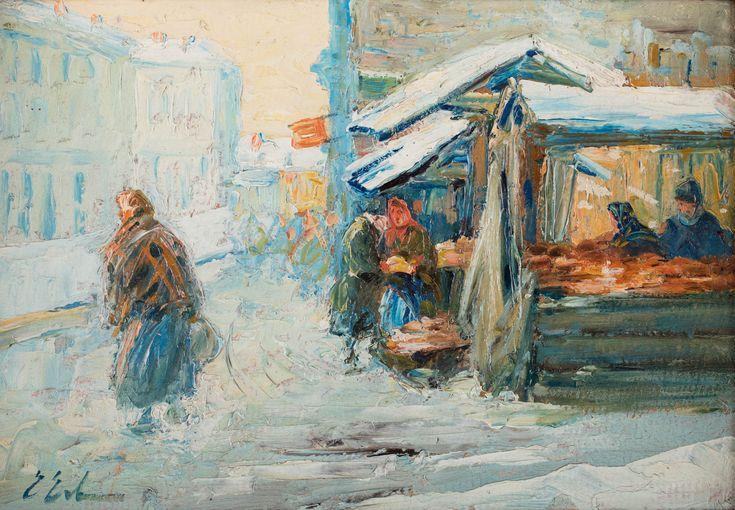 ERNO ERB (1890 - 1943)  STRAGAN ZIMĄ   olej, tektura / 25 x 35 cm  sygn. l.d.: E Erb