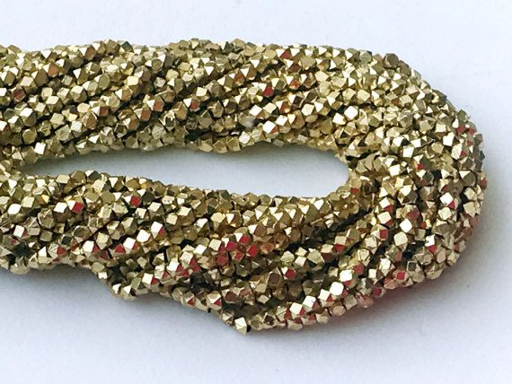 WHOLESALE 5 Strands Gold Pyrite Beads Golden by gemsforjewels
