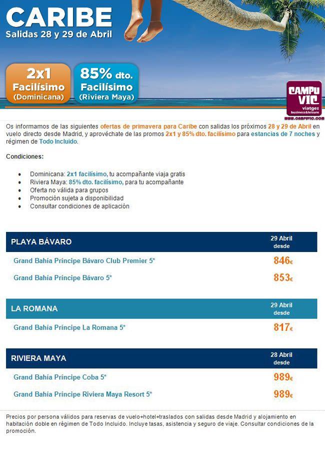 #caribe #28Abril #ultimahora #2x1  Caribe con salidas los próximos 28 y 29 de Abril en vuelo directo, y aprovéchate de las promos 2x1 y 85% dto. para estancias de 7 noches y régimen de Todo Incluido.  Condiciones: • Dominicana: 2x1 facilísimo, tu acompañante viaja gratis • Riviera Maya: 85% dto. facilísimo, para tu acompañante • Oferta no válida para grupos • Promoción sujeta a disponibilidad  Reserva: http://campuvic.traveltool.es/navegacion/paquete/home_agrupacion.aspx?agr_codigo=19