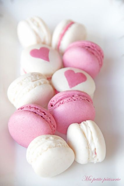 .pink and white macarons