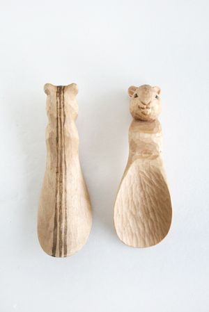 Hand-carved wooden critter spoon