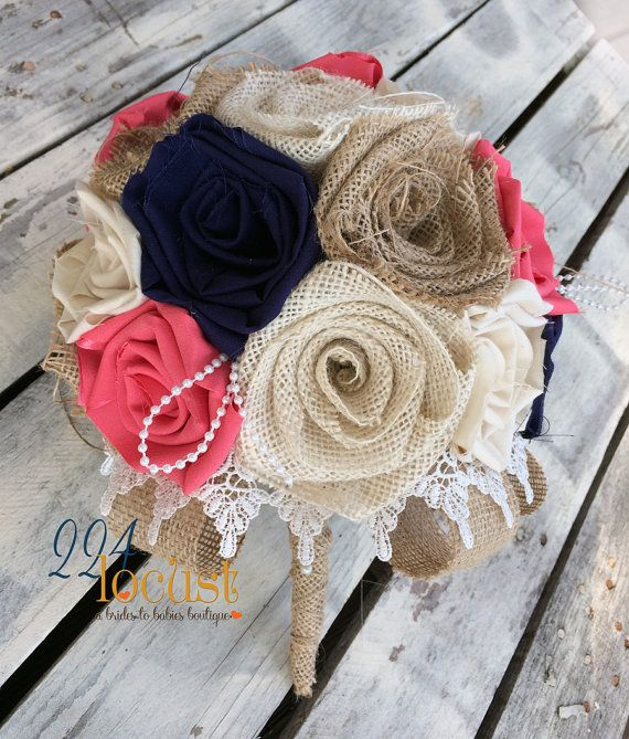 Coral and Navy Bridal Bouquet Wedding Bouquet by 224Locust on Etsy
