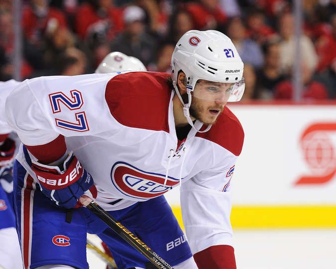 10.30.15 - Habs vs Leafs - Alex Galchenyuk #27 of the Montreal Canadiens skates against the Calgary Flames during an NHL game at Scotiabank Saddledome  in Calgary, Alberta, Canada. (Photo by Derek Leung/Getty Images)