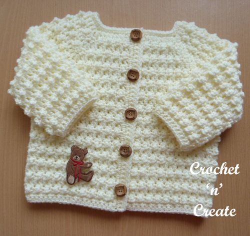 My knobbly baby cardi is an ideal garment to slip on over a top, dress or boys shirt. The pattern for this design is in a raised textured stitch ..........