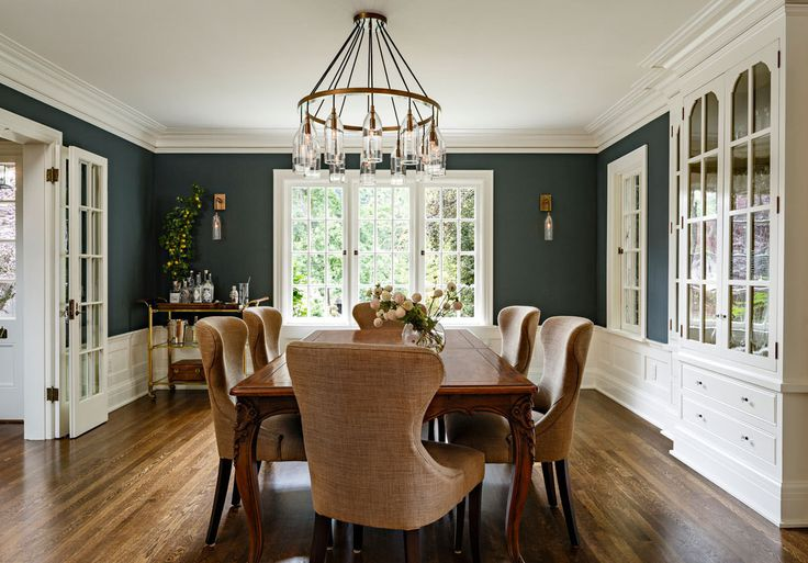 An Understated Portland Home by Jessica Helgerson Walls in Benjamin Moore's Dark Pewter highlight the built-in china hutch added by Helgerson.
