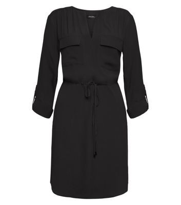 Black Roll Sleeve Shirt Dress