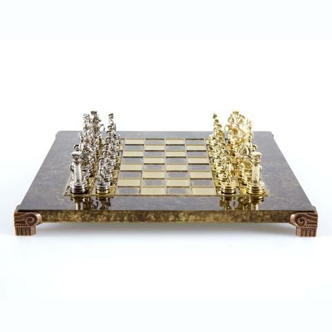 Handcrafted Metallic Chess - Chess Set - Greek Roman Period (Small) - Gold/Silver
