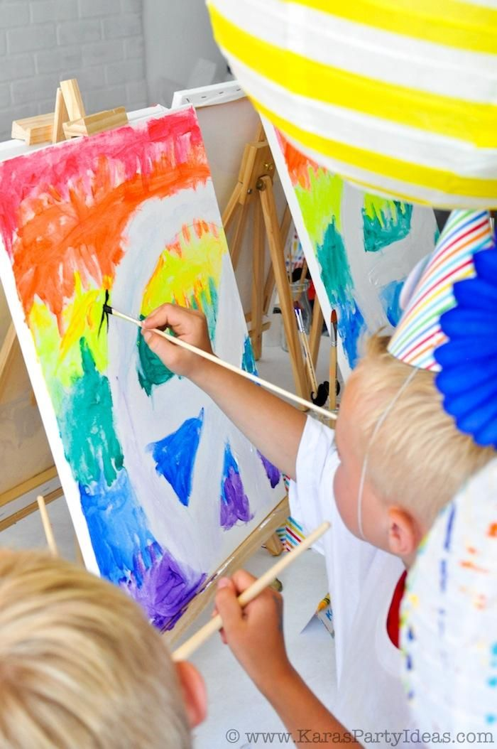 art colorful rainbow themed birthday party planning supplies cake cupcakes decor ideas favors activities artist painting - Kids Pictures To Paint