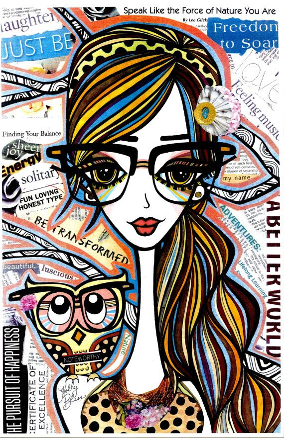 Positive Girls with Owls Art Decor Collection: Naomi