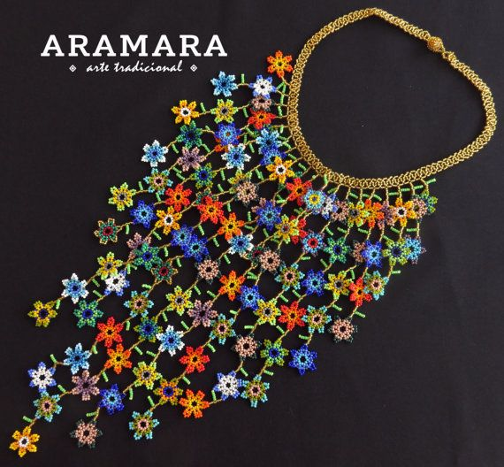 Collar de Huichol collar y pendientes conjunto 0064 JGO