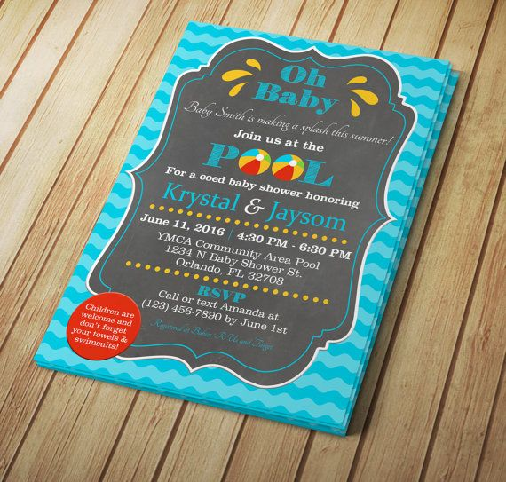 5x7 Pool Party Baby Shower  Editable Invitation Template
