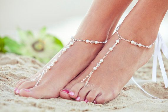 Beaded barefoot sandles feet jewlery pearl от PassionflowerJewelry