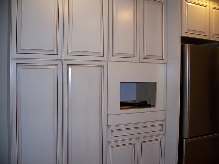 Glazed white cabinets vanilla bean for the home for Show me kitchen cabinets