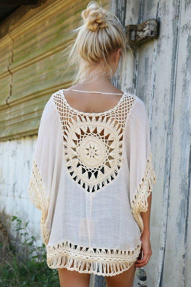 The Elyseum Oversized Cream Crochet Trim Knit Tunic Top