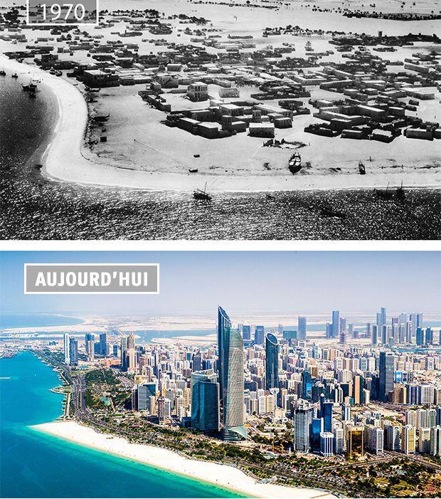 Abou Dabi en 1970 et aujourd'hui