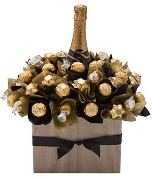 This beautiful chocolate bouquet features a bottle of Moet et Chandon Champagne in a bunch of Ferrero Rocher, Lindor and Belgian chocolates. Designed for those who wish to make a statement with their gift giving, the Luxury French Champagne Bloom is sure to delight. $156.00