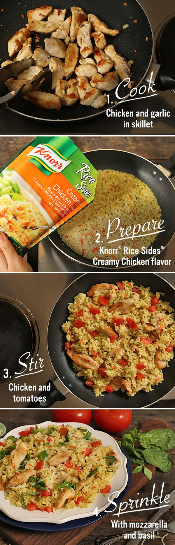 Make your weeknight dinner extra special with our easy and delicious Creamy Bruschetta Chicken recipe! Heat oil in large nonstick skillet over medium-high heat and cook chicken, stirring frequently, until chicken is thoroughly cooked, about 4 minutes, adding garlic during the last 30 seconds of cook time. Remove and set aside. Prepare Knorr® Rice Sides™ - Creamy Chicken flavor in same skillet according to package directions. Stir in chicken and tomatoes. Sprinkle with mozzarella and basil.