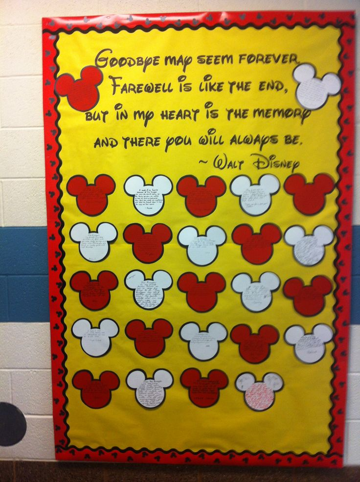Teacher appreciation Mickey Mouse bulletin board