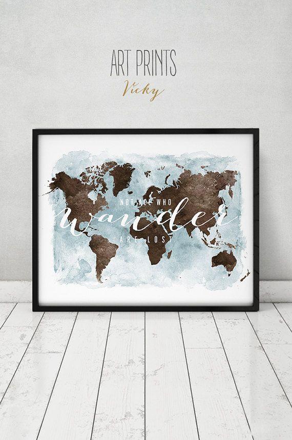 World map poster print large world map wall art travel