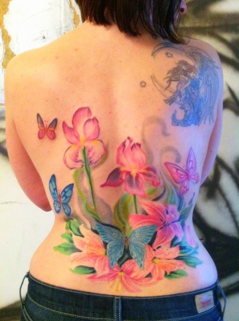 Butterfly Flower Garden Tattoo Piece, For My Mom. By