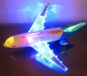 WolVol: Electric Small Airplane Toy with Beautiful Flashing Lights and Loud Airplane Sound It is about 10 inches long and 8 inches wide. The airplane was easy to assemble, put the wings on and put in the batteries and it was ready to play with.  http://awsomegadgetsandtoysforgirlsandboys.com/wolvol/ WolVol: Electric Small Airplane Toy with Beautiful Flashing Lights and Loud Airplane Sound