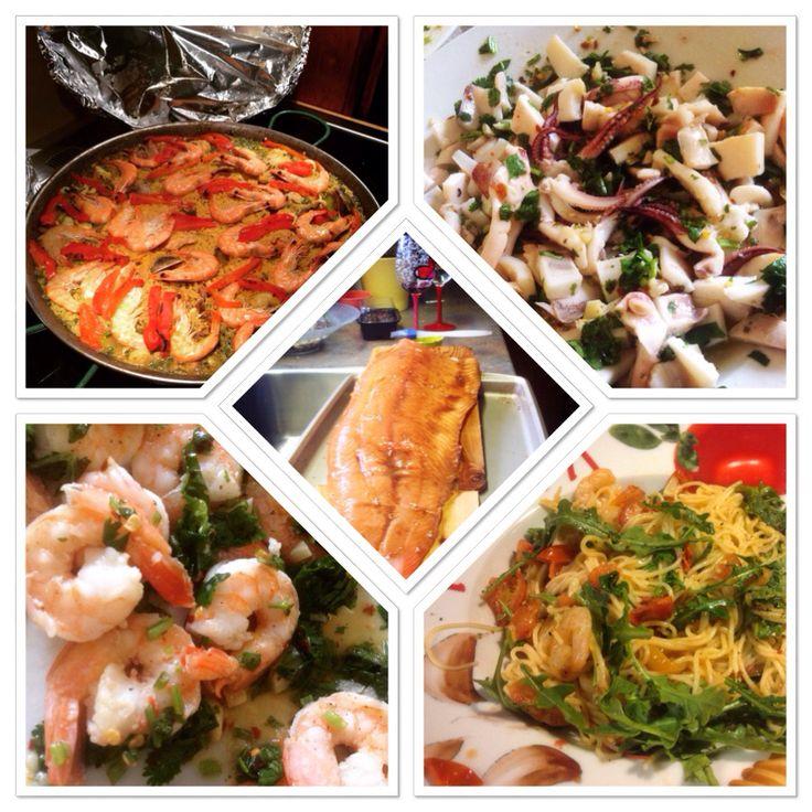 arriba, Paella, vuelve a la vida  Centro, salmón en glasé balsámico  Abajo, camarones al ajillo y Spaghetti en salsa de camarones y arugula, By Carolina @lacasArt