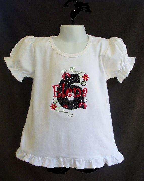 Birthday T Shirt   Ruffled Hem Puffy Long by TheSassySquirrel, $20.99:  T-Shirt, Girl Birthday, Birthday Tshirt, Birthday Shirts, Birthday Ladybugs, Birthday T Shirts, 1St Birthday, Girls Birthday, Birthday Ideas