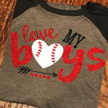 "Shop now...Proudly support your baseball player in this super cute glitter design ""My Heart Is on That Field"" unisex raglan tee. Customized to your team's color scheme, this super soft raglan tee will surely be a favorite because it's cute AND comfortable"