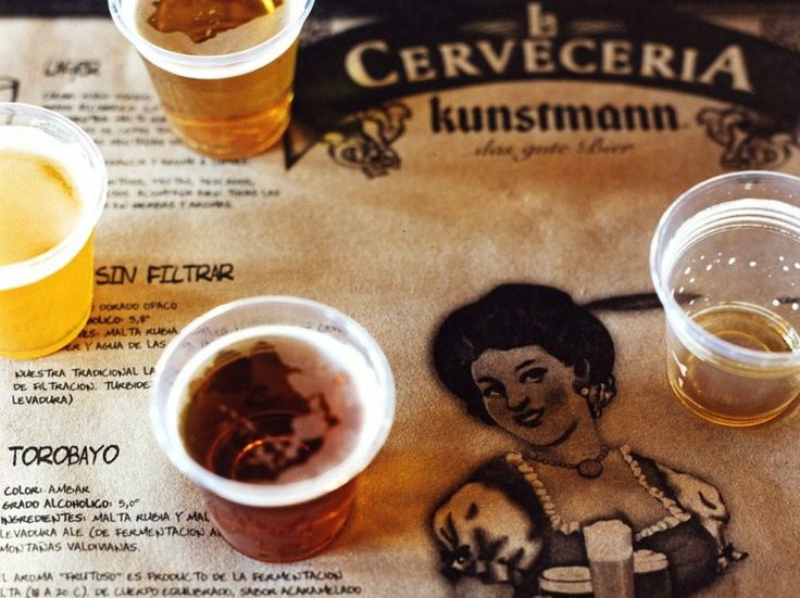 Sampling the beers at boisterous Cerveceria Kunstmann, a fifteen-minute drive from Valdivia, Chile. It's the best restaurant in this town known for seafood and beer. The smoke ribs are not to be missed