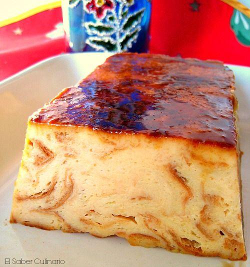 Pudin de leche merengada con salsa de chocolate blanco