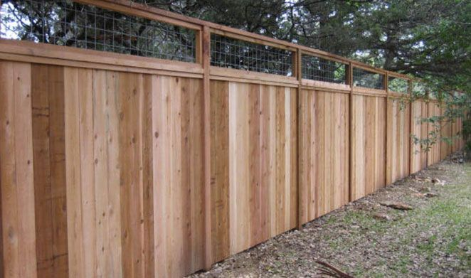 8 ft custom wood cedar fence with cattle panel insert on top. OMG, I love  this if we redo the backyard fencing - it would tie in with what I want t… - 8 Ft Custom Wood Cedar Fence With Cattle Panel Insert On Top. OMG