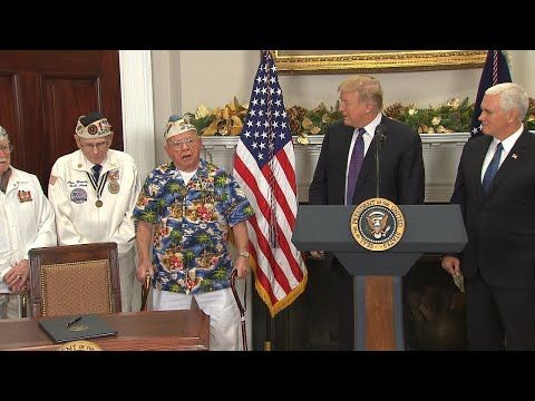YOU will NOT believe what This Veteran Just did Next to President Trump At Pear Harbor Speech - YouTube