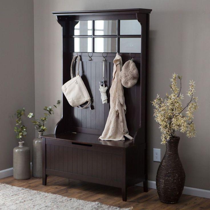 Modern Wood Seat Storage Hook Espresso Hall Tree Bench Mirror Entry Way Mud Room