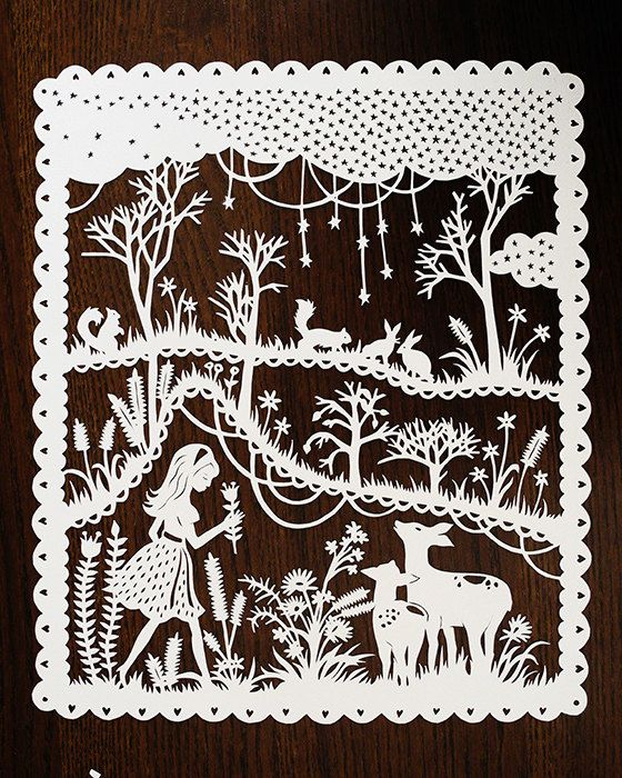 Paper artist Sarah Trumbauer illustrates and creates original papercuts inspired by fairy tales. Equipped with only a few simple tools (acid-free paper and an X-Acto knife), the artist uses her own designs to meticulously carve out intricate patterns and silhouettes of enchanting scenes that are both familiar and new.