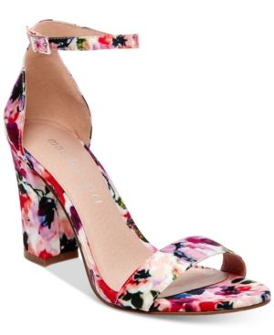 Madden Girl Bella Two-Piece Block Heel Sandals - Floral Multi 8.5M