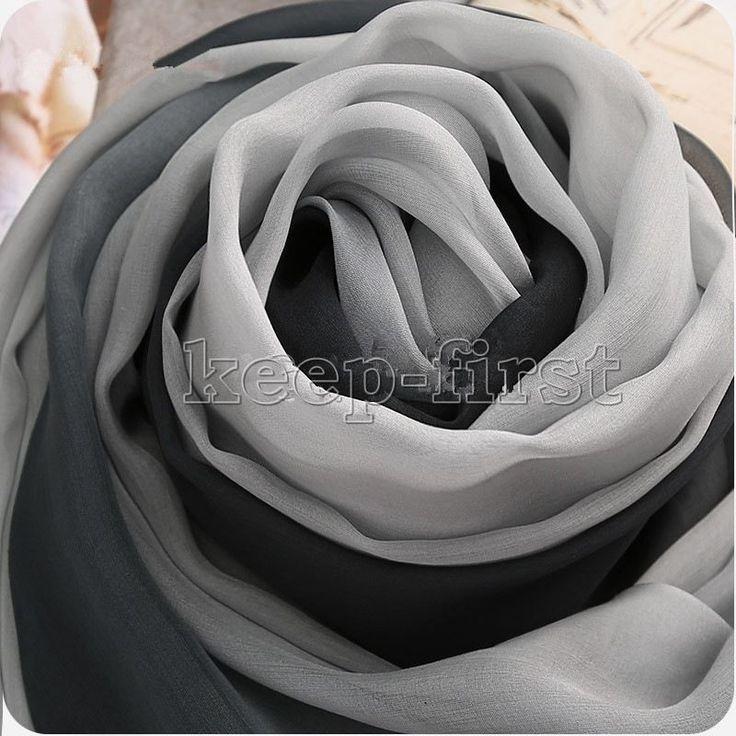 Black & Gray Long Soft Women Fashion Chiffon Scarf Wrap Shawl Stole Scarves